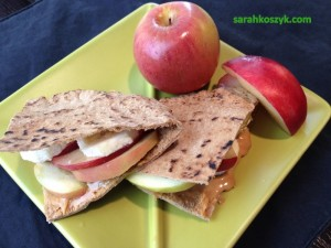 Apple PB Banana Peach Pita pocket
