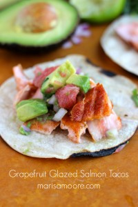 Grapefruit Glazed Salmon Tacos on marisamoore.com